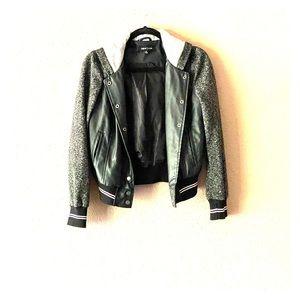 Stylish Black Bomber style Hooded Jacket